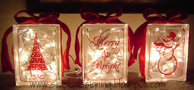 christmas glass blocks