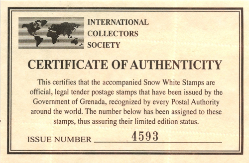limited edition print certificate of authenticity template - filmic light snow white archive grenada postage stamps