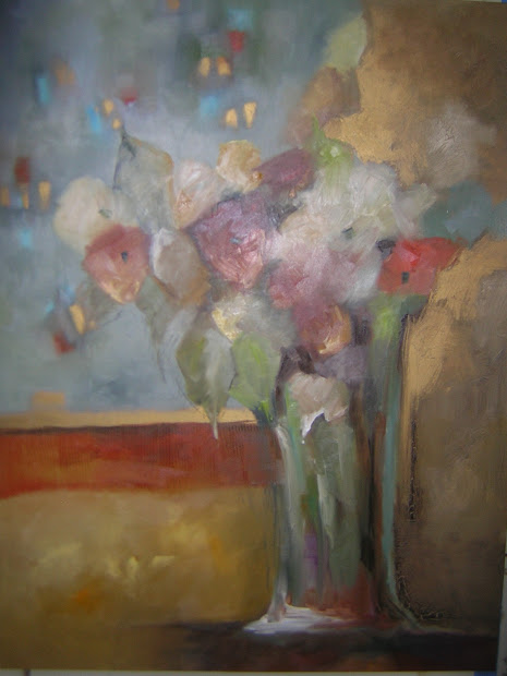 """Allison Fine Art Stylized Realistic Contemporary Oil Painting Titled """"fowers In Rain"""""""