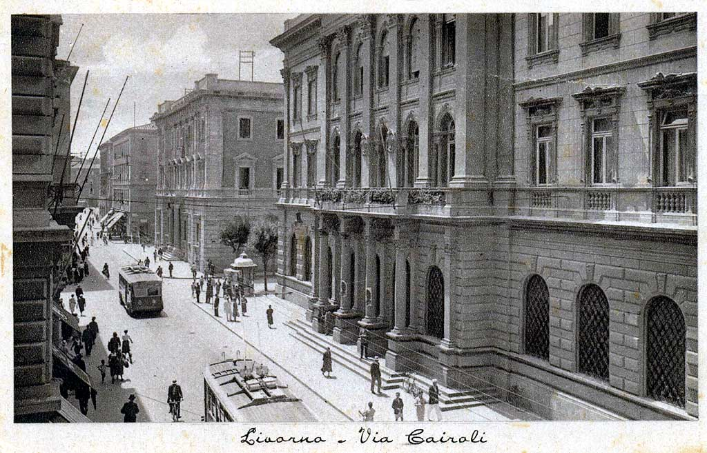 Central Post Office, old postcard, Livorno