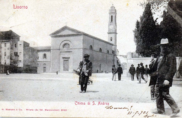 Old postcard, church of Sant'Andrea, Saint Andrew, Livorno