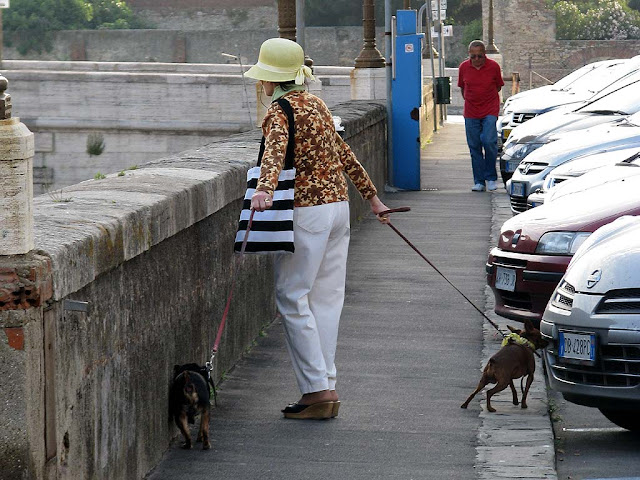Lady with two dogs on the leash, scali D'Azeglio, Livorno