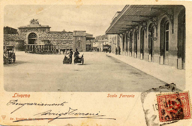 Old postcard, San Marco railway station, Livorno