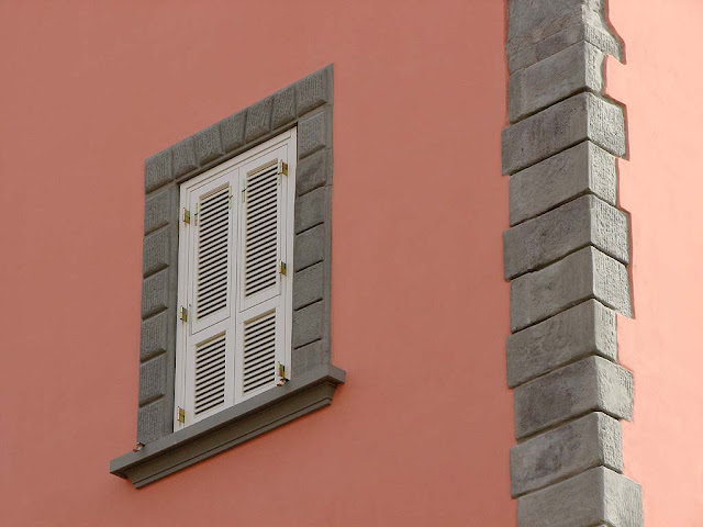White window shutters on a pink wall, Livorno