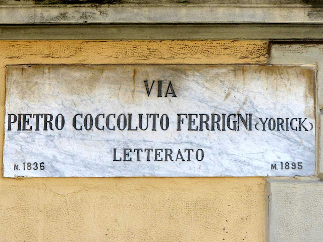 Plaque of via Pietro Coccoluto Ferrigni, Yorick, Livorno