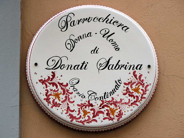 Hairdresser for man and woman, plaque, Livorno