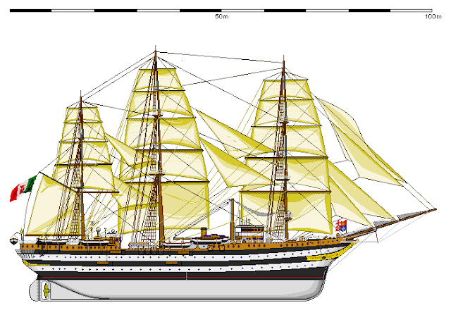 Amerigo Vespucci training ship, drawing
