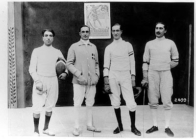 Nedo Nadi and Aldo Nadi with two teammates, Antwerp 1920
