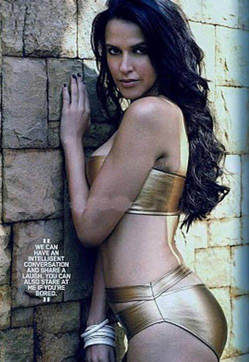 Neha Dhupia Hot Golden Bikini Photoshoot Pictures From Maxim Magazine
