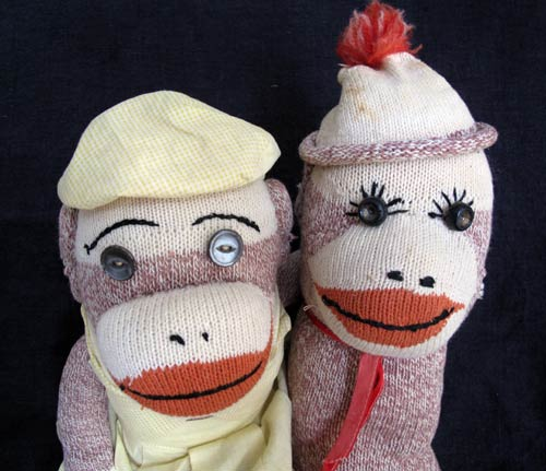 vintage red heel sock monkey