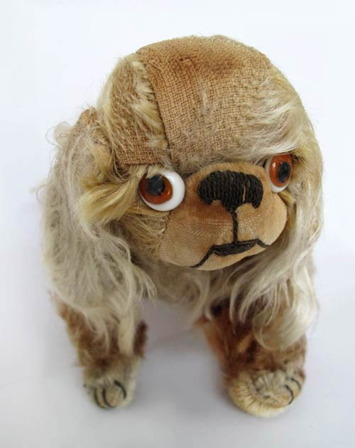 antique mohair pekingese pug dog bear