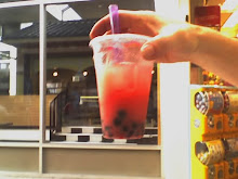 Strawberry tapioca drink in Japan town--chewy!
