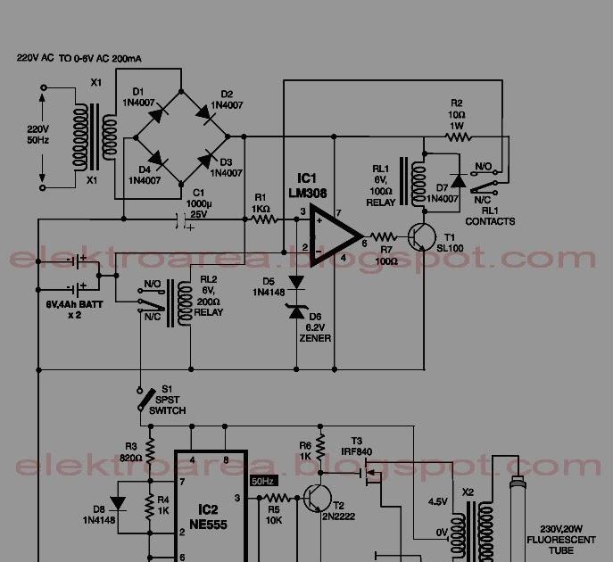 electronic: Rangkaian Neon Emergency Light Battery 6 volt
