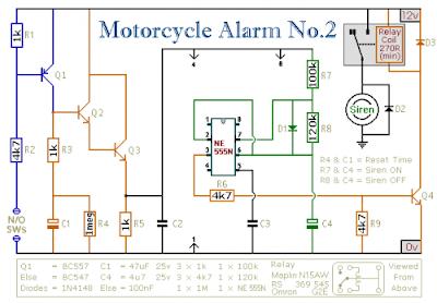 Motorcycle Alarm Circuit Using IC 555