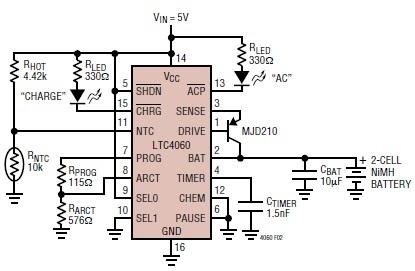 LTC4060  NiMHNiCd Battery Charger Circuit  Koleksi Skema Rangkaian Artikel Elektronika