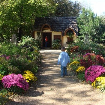 boy walks toward the playhouse in the Dallas Arboretum