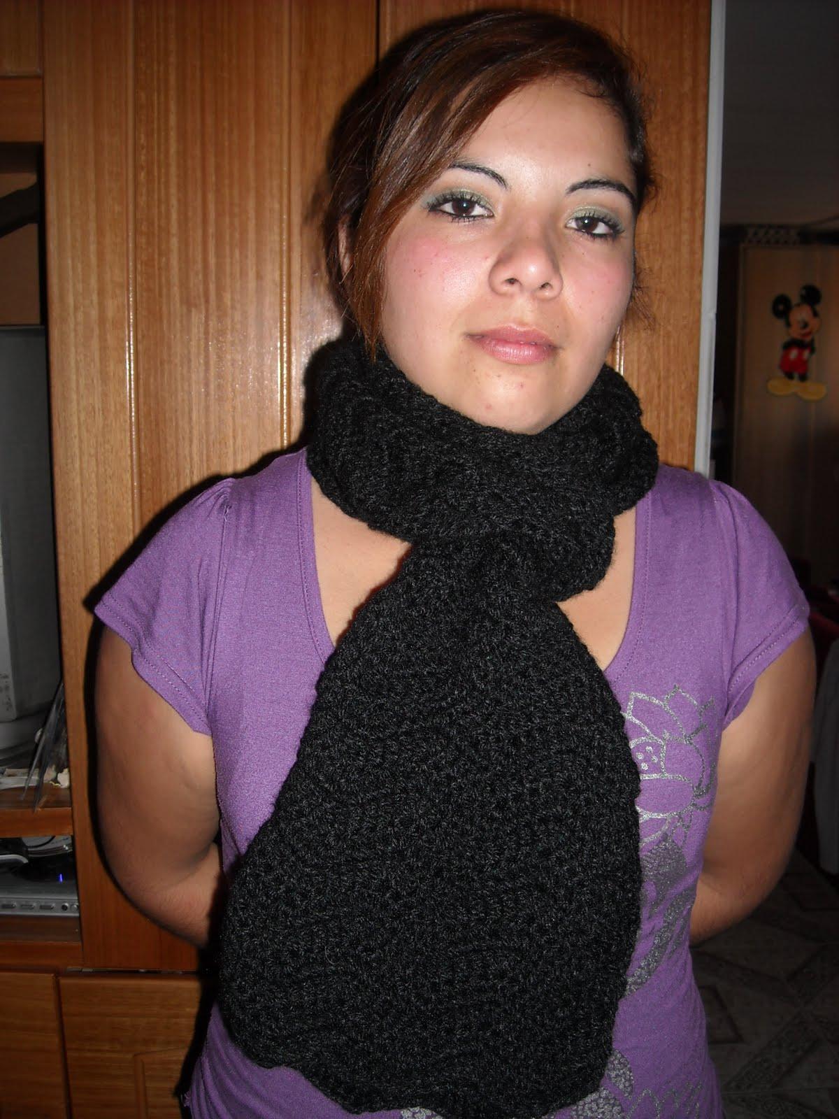 MUNDO DEL TEJIDO CROCHET Y ALGO MAS  Bufanda negra a crochet 30dcda0aebc