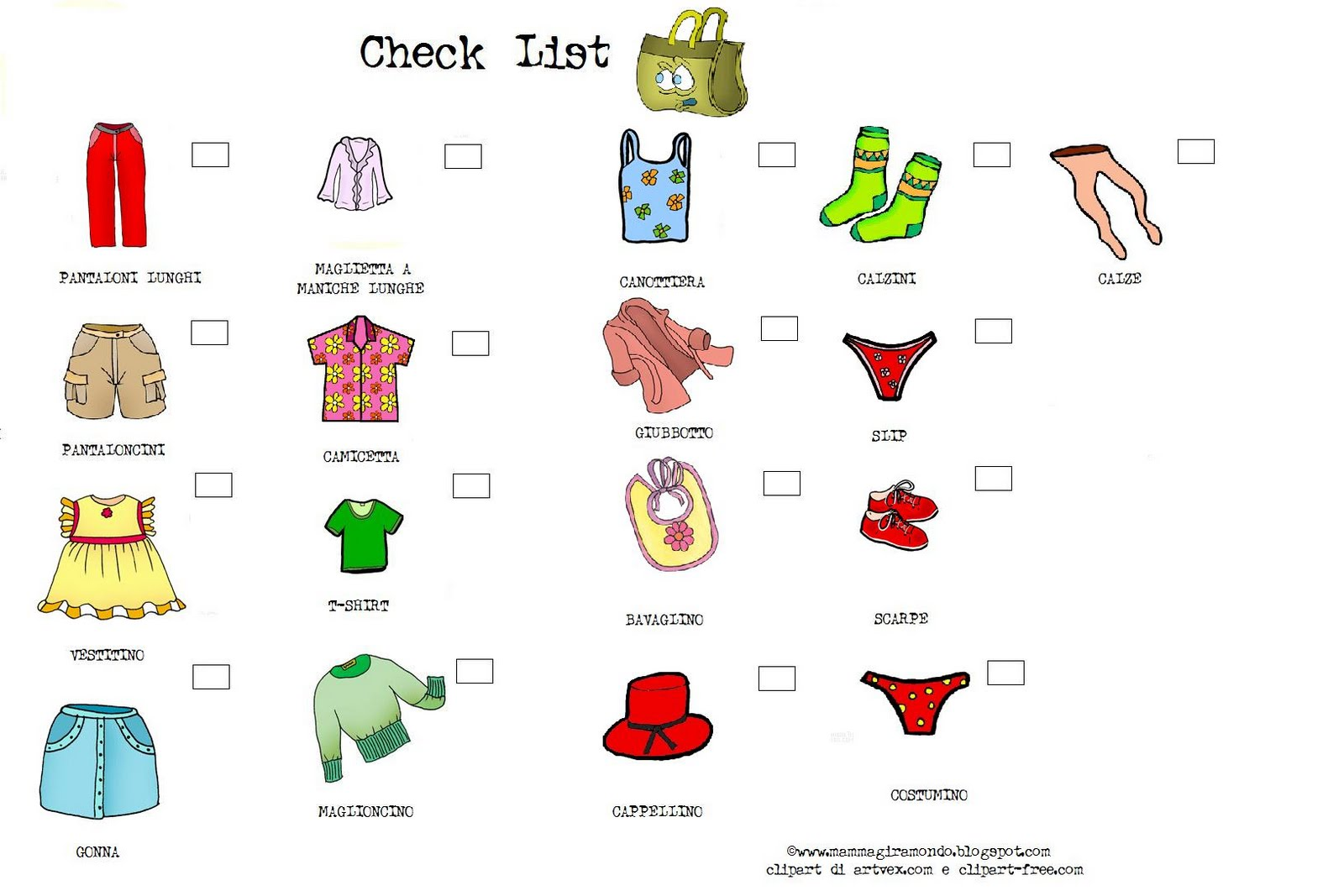 Preparare La Valigia Con I Bambini Packing Check List For