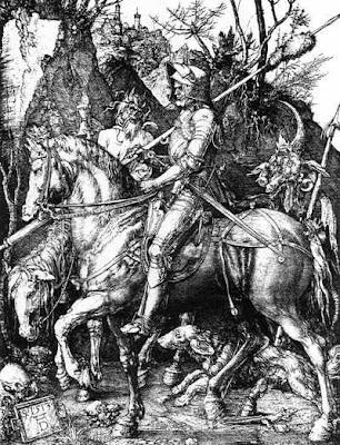 Dürer, CAVALEIRO E A MORTE (1513, gravura a cobre, col. particular)