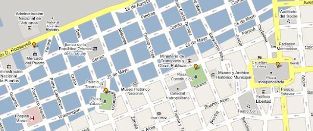 Mapa de que ver en la Ciudad Vieja de Montevideo