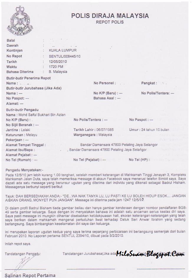 Ugutan Bunuh Saiful Bukhari Bodoh