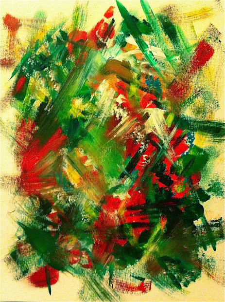 Abstract Christmas Painting On Canvas