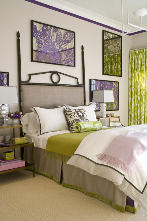 Purple Green and Gray Bedroom