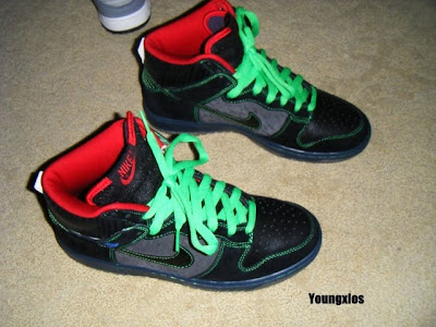 Nike SB Dunk Hi - Black Green Stitching January 2009 Release Twin Peaks 79700cfb1