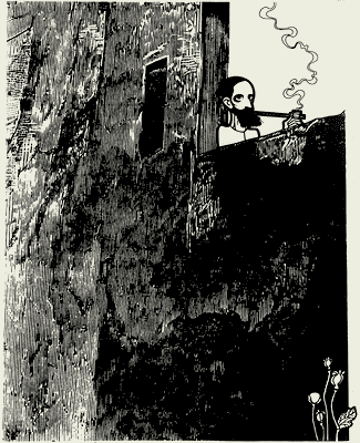 Camilo Pessanha. Desenho a tinta da china de João Abel Manta, 1975