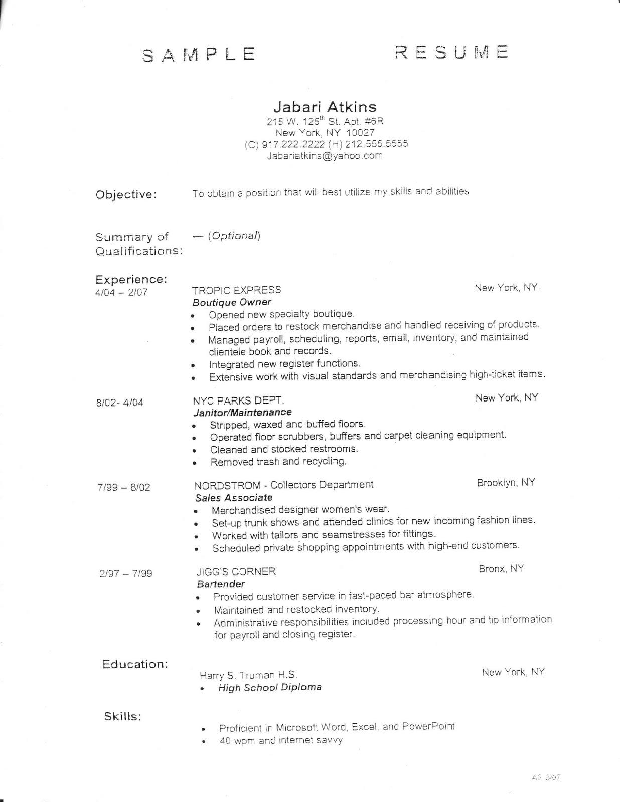 Basic Outline For A Resume