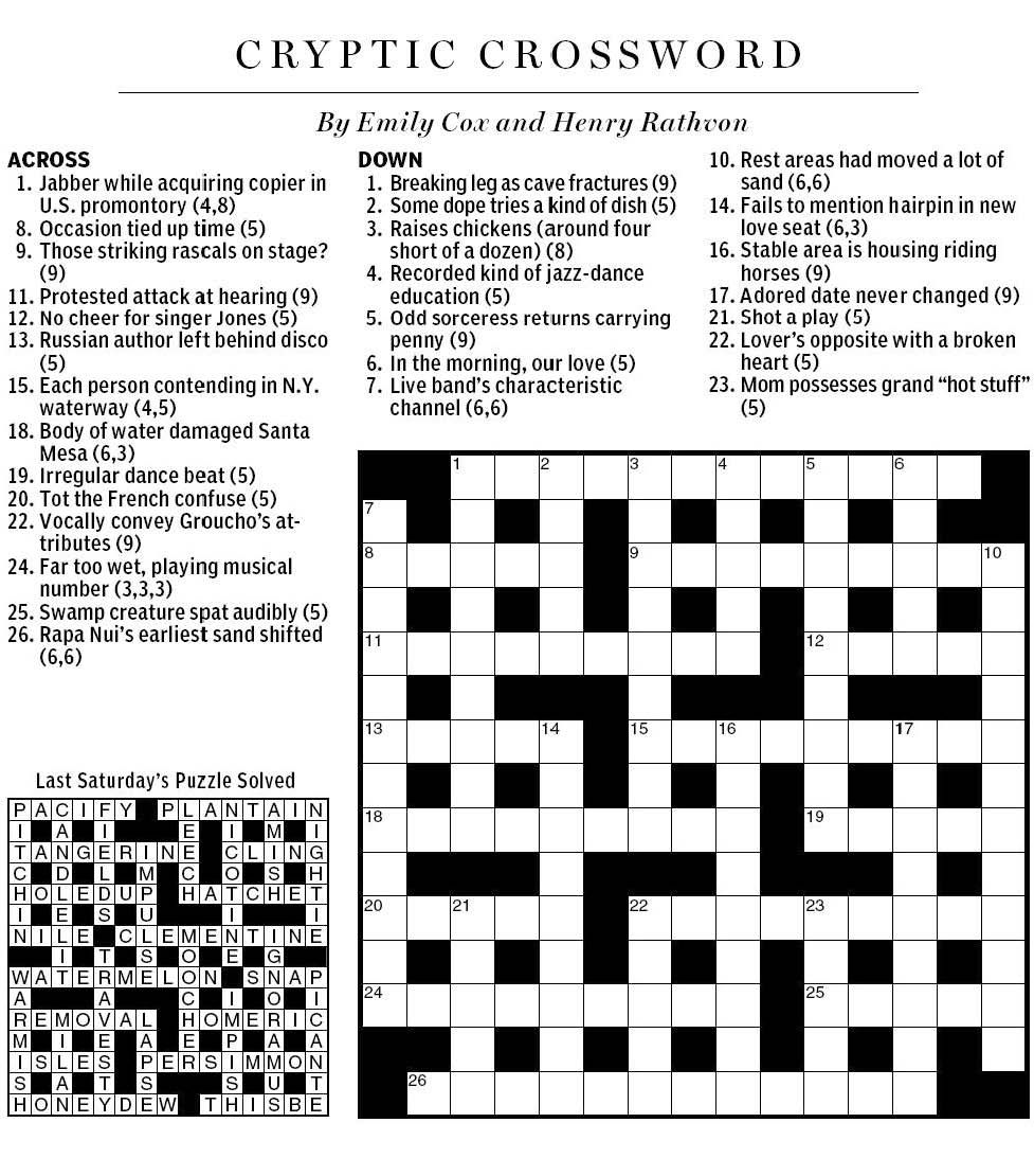 National Post Cryptic Crossword Forum: Saturday, January ...