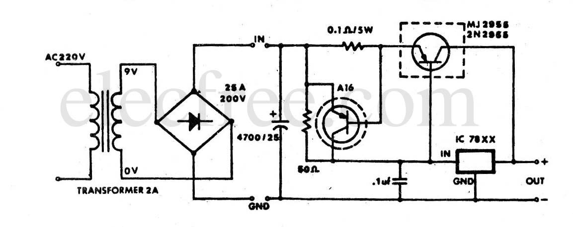 Circuit Electronics: 7805+Mj2955 power supply 5V 5A for