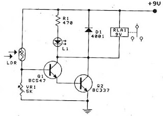 Circuit Electronics: Circuit Light Relay Switch By BC547