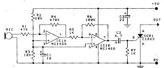 Circuit Sound SCR Swith by IC 1458 & SCR C106D Circuit