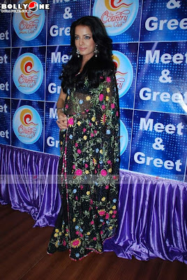 White Celina Jaitley in Black Saree at Country Club Bash