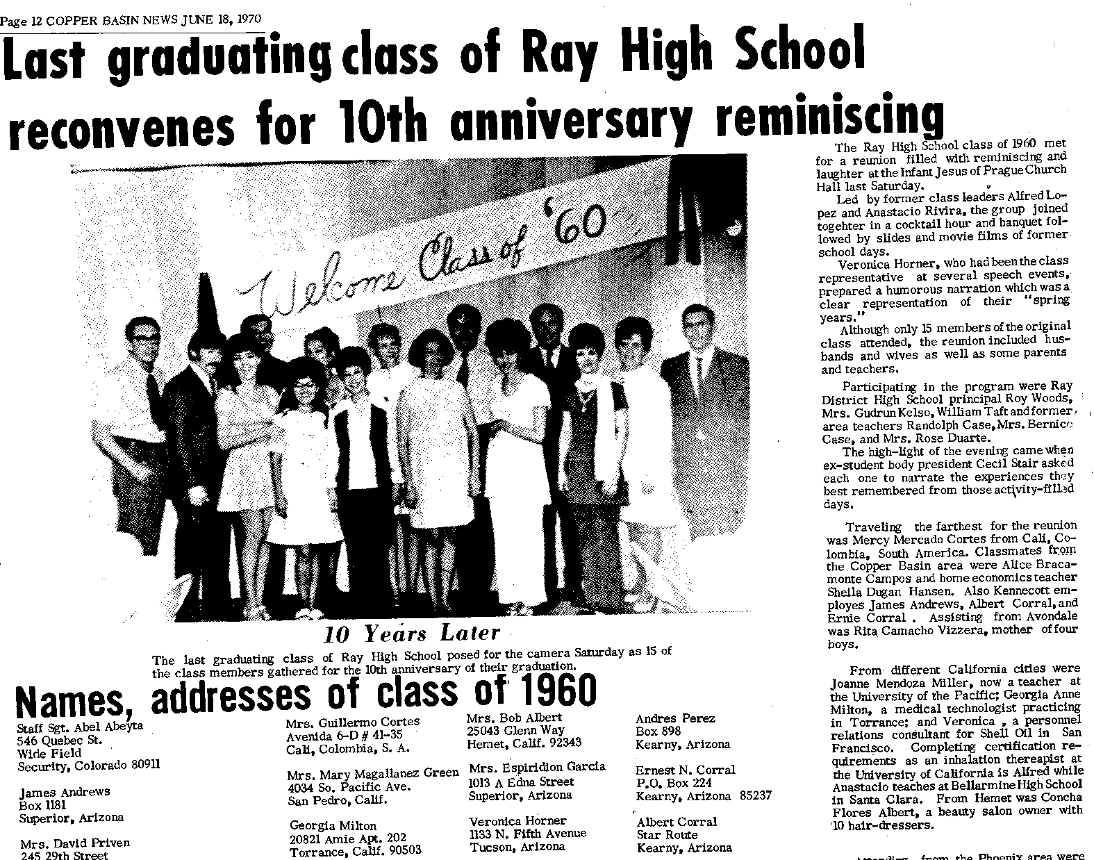 Ray High School Alumni: A Little Reminiscing for the Class
