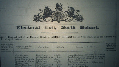North Hobart electoral roll 1884