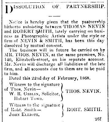 Nevin and Smith dissolution 26 Feb 1868