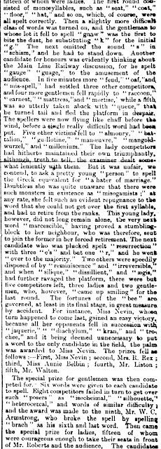 Mary Ann Nevin wins Spelling Bee 25 Sept 1875