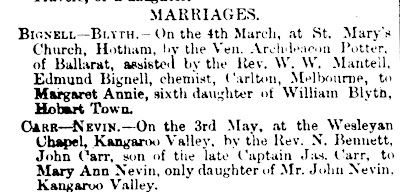 Sister Mary Ann Nevin married John Carr 12 May 1877