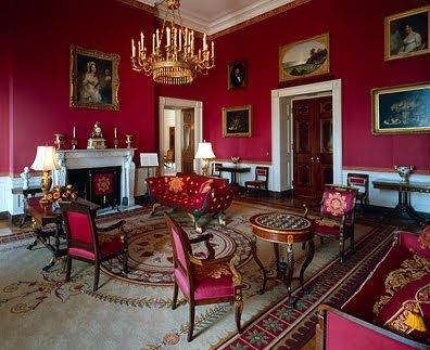 Tweedland the gentlemen 39 s club redecoration of the oval - Red black and white themed living room ...