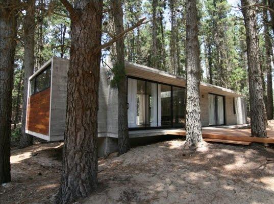 Hablemos un poco de todo casas de hormig n en el bosque for Casa minimalista bosque