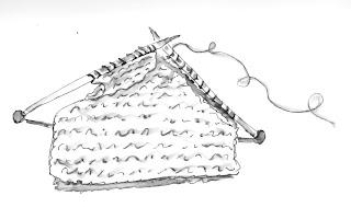 Christine Pierce: Knit-a-Square (Sketch and Photos)