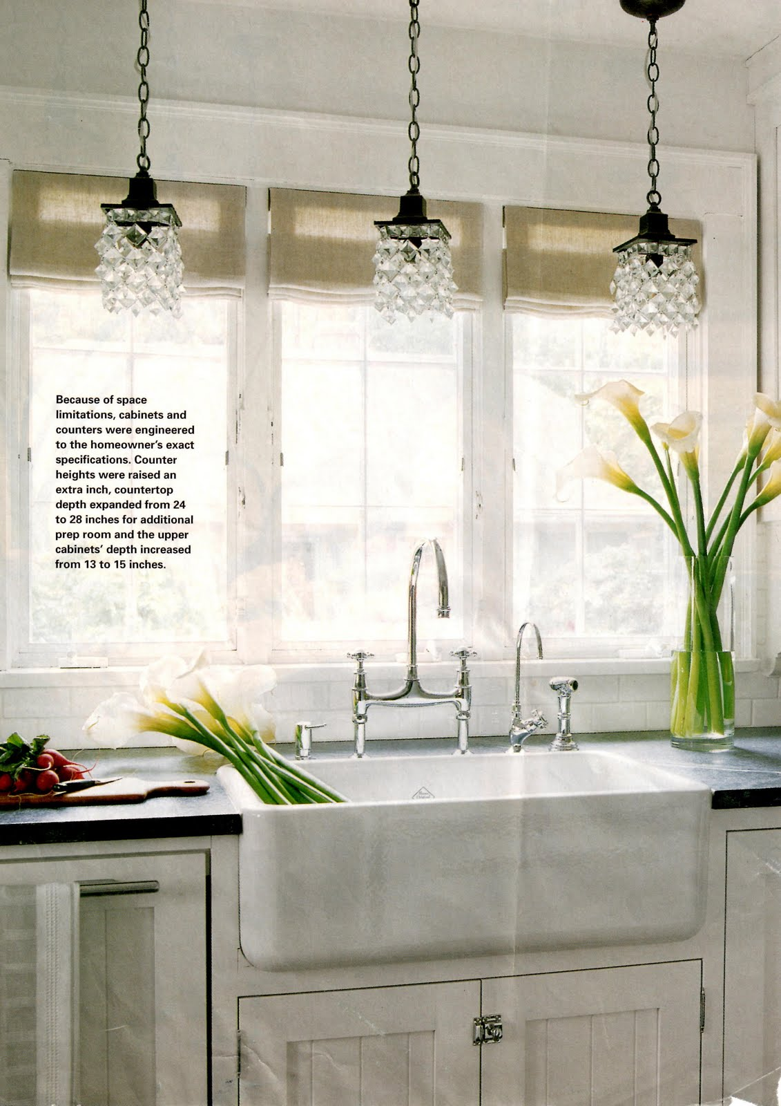 over the kitchen sink pendant lights i like how they paired the pendants with a different but 9029