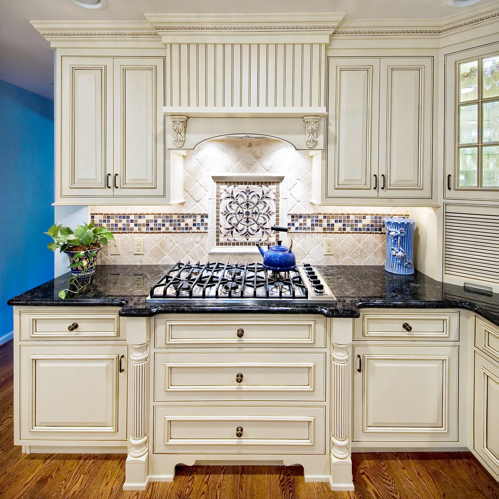 a touch of blue blue cabinets kitchen