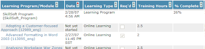 New columns on the Enrolled Learning Modules tab