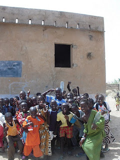 Students outside of the CEP classroom in the village of Thiel Sebe, Senegal