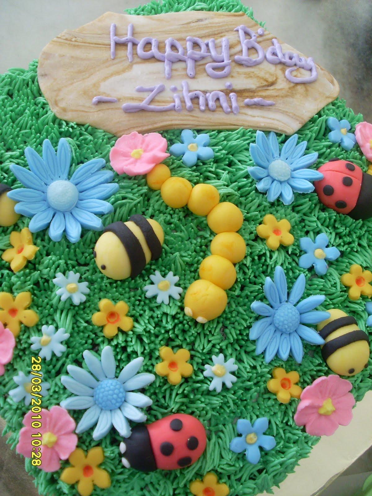 Love2bakedecorate Garden Theme B Day Cake For Aqif