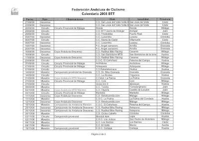 Andalucia Ciclismo Calendario.Calendario 2008 Btt La Vereita Cd Cicloturista Marbella