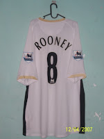 575ba6300 From Left to Right  2006-2007 Man United Away Jersey with ROONEY 8 and  Normal EPL Badges (XXXL)